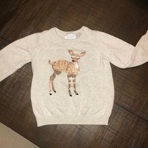 Grey Rain Deer Sweater- Girl Toddler size 3T